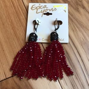 NWT red and black tassel earrings